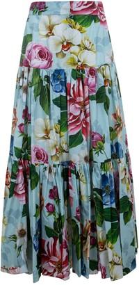 Dolce & Gabbana Floral Printed Flared Skirt