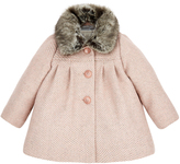 Monsoon Baby Annie Tweed Coat with Fur Collar