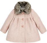 Monsoon Baby Annie Tweed Coat with Fur Collar