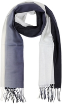 Mila Schon Gradient White/Dark Blue Wool and Cashmere Fringed Stole