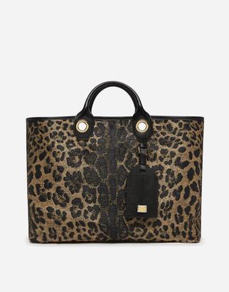 Dolce & Gabbana Large Capri Shopping Bag In Jacquard Raffia With Leopard Print