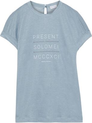 Brunello Cucinelli Embellished Printed Slub Linen And Silk-blend Jersey Top