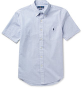 Polo Ralph Lauren Button-down Collar Striped Cotton-seersucker Shirt - Blue