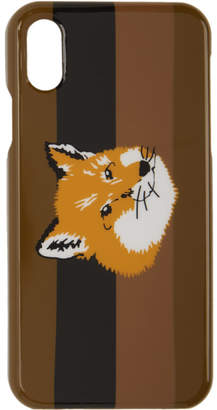 MAISON KITSUNÉ Brown Fox Stripes iPhone X Case