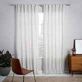 Cotton Canvas Circle Lattice Curtain - Platinum