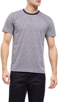 Jaeger Overdyed Stripe Cotton T-shirt, Blue/white