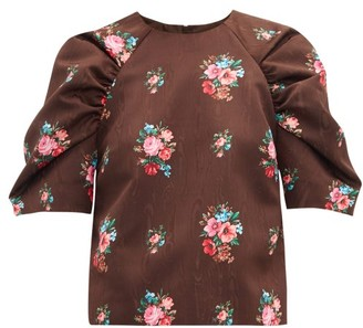 MSGM Floral-jacquard Gathered-sleeve Blouse - Brown Multi