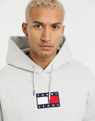 Tommy Jeans chest small flag hoodie in grey marl