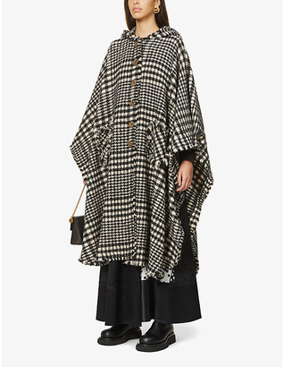 Ports 1961 Houndstooth wool-blend cape jacket