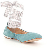 Gianni Bini Linet Ankle Wrap Gingham Lace Up Detail Ballet Flats
