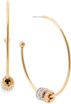 Michael Kors Tri-Tone Pavé Beaded Hoop Earrings