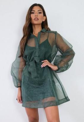 Missguided Green Organza Shirt Dress