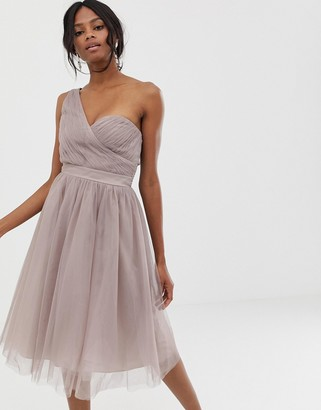 Little Mistress one shoulder tulle skater dress