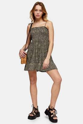 Topshop Womens Petite Stone Animal Print Shirred Jersey Flippy Dress - Stone