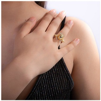 Disney Aladdin 14k Gold Plated Opening Crystal Scarab Beetle Ring