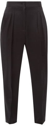 Nili Lotan Lia Front-pleated Silk-satin Trousers - Black