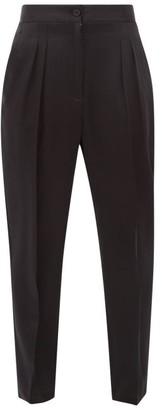 Nili Lotan Lia Front-pleated Silk-satin Trousers - Womens - Black