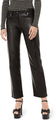 Michael Kors Straight-Leg Leather Pants