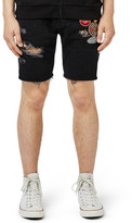 Topman Ripped Slim Fit Cutoff Shorts with Badges