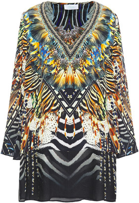 Camilla Layered Crystal-embellished Printed Silk Crepe De Chine And Chiffon Tunic