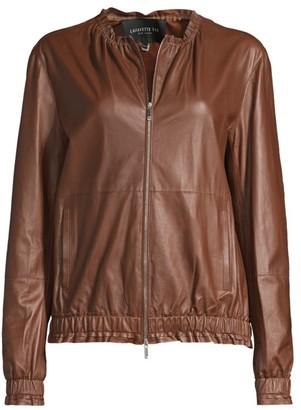 Lafayette 148 New York Rylan Leather Bomber Jacket