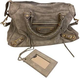 Balenciaga Classic Metalic Grey Suede Handbags