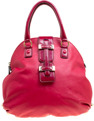 Roberto Cavalli Red Leather Dome Satchel