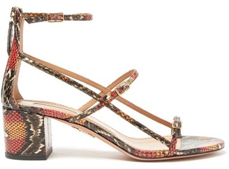 Aquazzura Super Model Elaphe Sandals - Womens - Multi