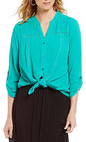 I.N. Studio Solid 3/4 Sleeve Button Down Tie-Front Crepon Top