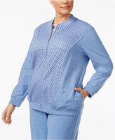 Alfred Dunner Plus Size Long Weekend Collection Lace-Trim Track Jacket