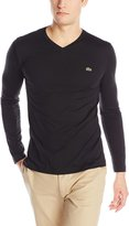 Lacoste Men's Long Sleeve Jersey Pima V Neck Tee Shirt