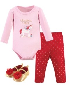 Hudson Baby Baby Girls Magical Christmas Bodysuit, Pant and Shoe Set, Pack of 3