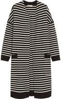 Maje Oversized Striped Knitted Cardigan - Black