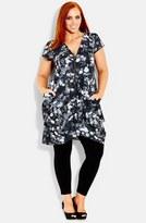 City Chic Plus Size Women's Print Front Zip Pleat Tunic