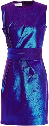 Lanvin Belted Iridescent-effect Cotton-blend Taffeta Mini Dress