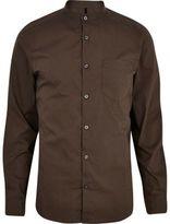 River Island MensDark khaki long sleeve grandad shirt