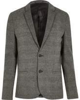 River Island Mens Grey check skinny fit jersey blazer