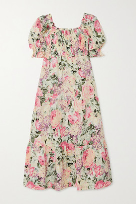 Faithfull The Brand De Christin Shirred Floral-print Linen Midi Dress - White