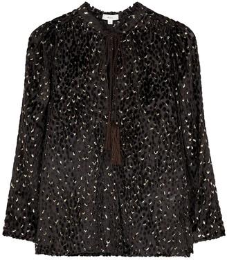 A.L.C. Ophelia metallic-weave devore blouse