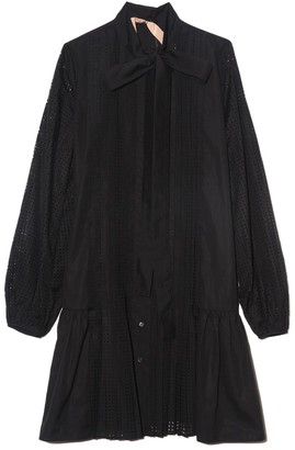 No.21 Perforated Shirt Dress in Black