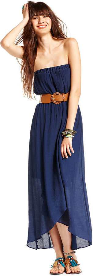 Amy Byer BCX Juniors Dress, Strapless Belted High-Low Maxi