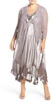 Komarov Plus Size Women's Embellished Charmeuse V-Neck Dress With Chiffon Jacket