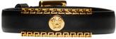 Versace Black and Gold Medusa Greek Key Leather Bracelet