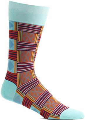 Ozone Men's Socks 13 - Blue & Orange Sahara Patchwork Socks - Men