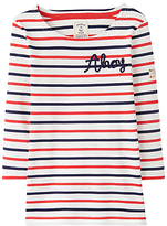 Joules Little Joule Girls' Harbour Striped Long Sleeve Top, Pink
