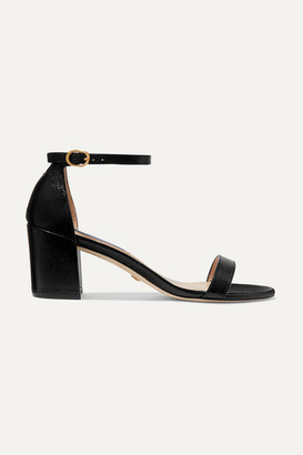 Stuart Weitzman Simple Textured-leather Sandals - Black