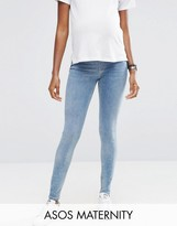 Asos Lisbon Mid Rise Jean in Zoe Wash with Ripped and Chewed Hem With Under The Bump Waistband