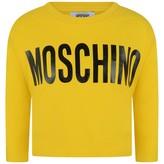 Moschino MoschinoGirls Yellow Cropped Logo Jersey Top