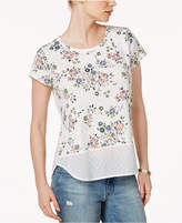 Maison Jules Cotton Floral-Print Mixed-Media Top, Created for Macy's