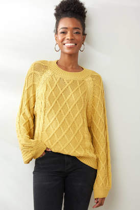 Neely Lace Detail Pullover Gold XS